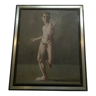 """""""Nude Man Reaching"""" Framed Signed Original Painting on Canvas by Frederick McDuff"""
