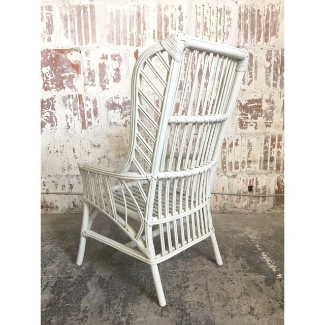 Mid-Century Modern Vintage Ficks Reed Rattan High Back Dining Chairs, Set of 4 For Sale - Image 3 of 5