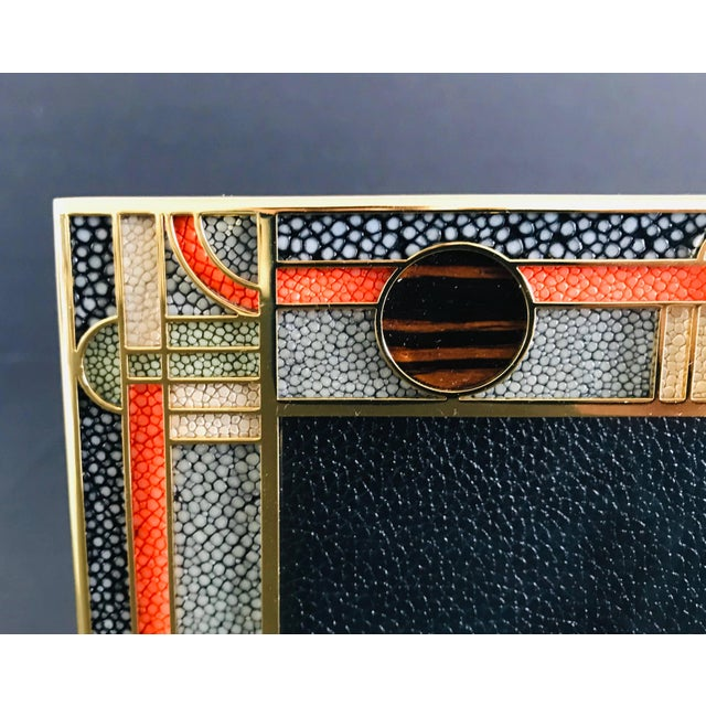 Fabio Ltd Multi-Color Shagreen Gold-Plated Photo Frame by Fabio Ltd For Sale - Image 4 of 7