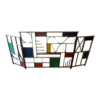 Vintage Modernist Wrought Iron Fireplace Screen For Sale