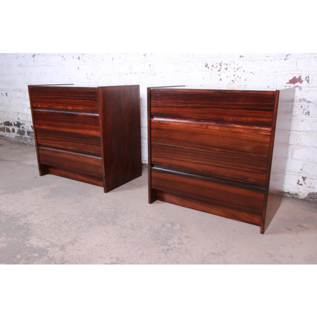 Danish Modern Rosewood Bachelor Chests or Large Nightstands, Newly Restored For Sale - Image 13 of 13