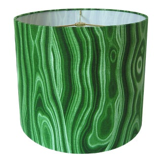 New, Made to Order Malachite Green Medium Drum Shade For Sale