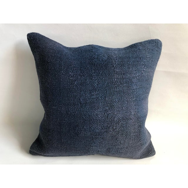 Turkish Anatolian Tribal Handwoven Blue Kilim Pillow Cover For Sale In Phoenix - Image 6 of 6