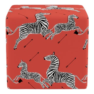 Cube Ottoman in Coral Zebra By Scalamandre For Sale
