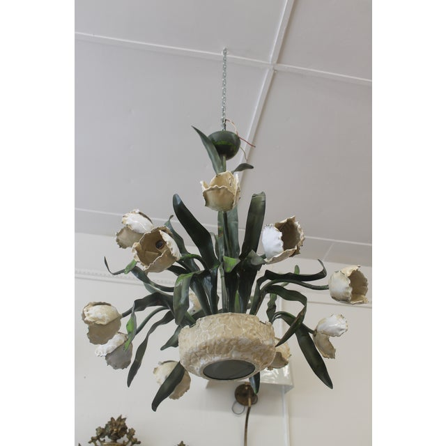 Vintage Ceramic Tulips Chandelier - Image 3 of 6