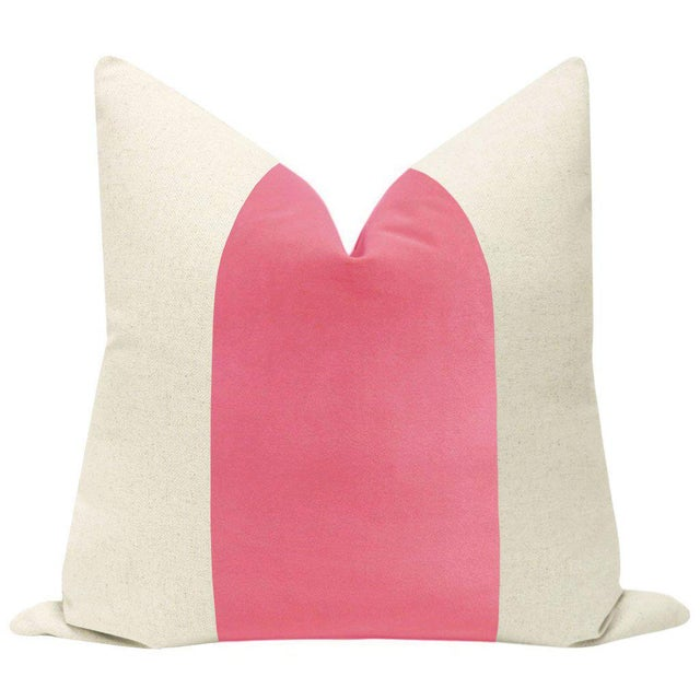 "Pair of beautiful 22"" natural linen pillows with a Rosé Pink velvet center and solid natural linen reverse. Meticulously..."