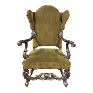 Green Velvet Gothic Wingback Armchair For Sale