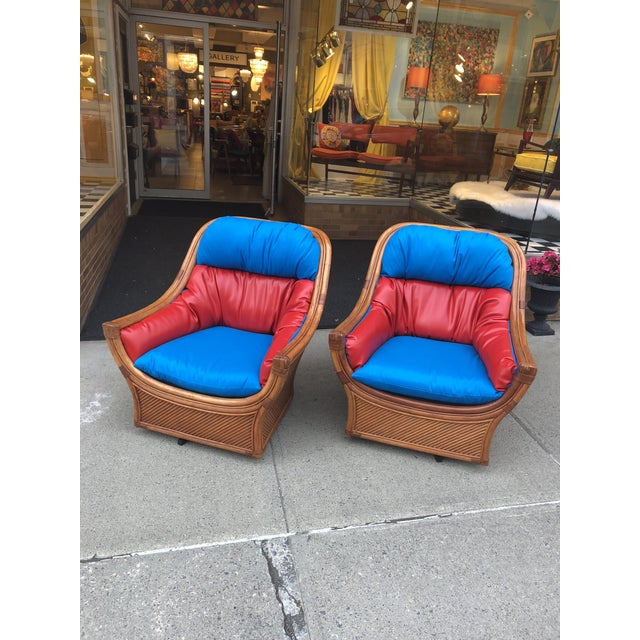 1960s Mid Century Modern Maguires Style Red and Blue Upholstered Rattan and Bamboo Outdoor Swivel Chairs - a Pair For Sale - Image 9 of 11