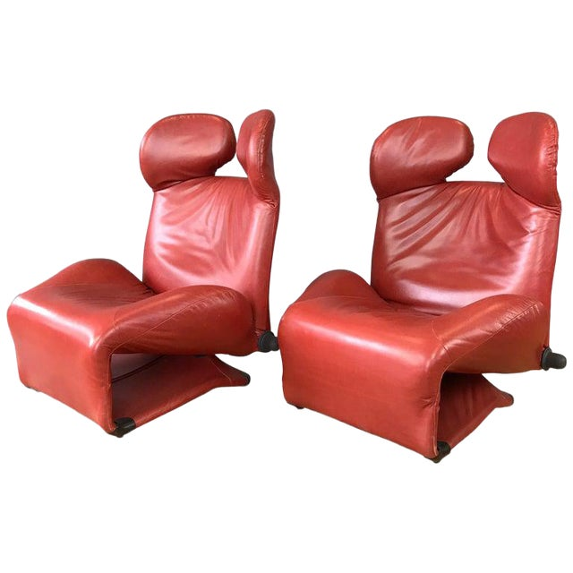 Pair of Toshiyuki Kita for Cassina Wink Convertible Leather Lounge Chairs For Sale