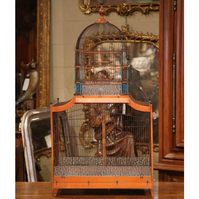19th Century French Hand-Painted Carved & Wired Birdcage - Image 2 of 8