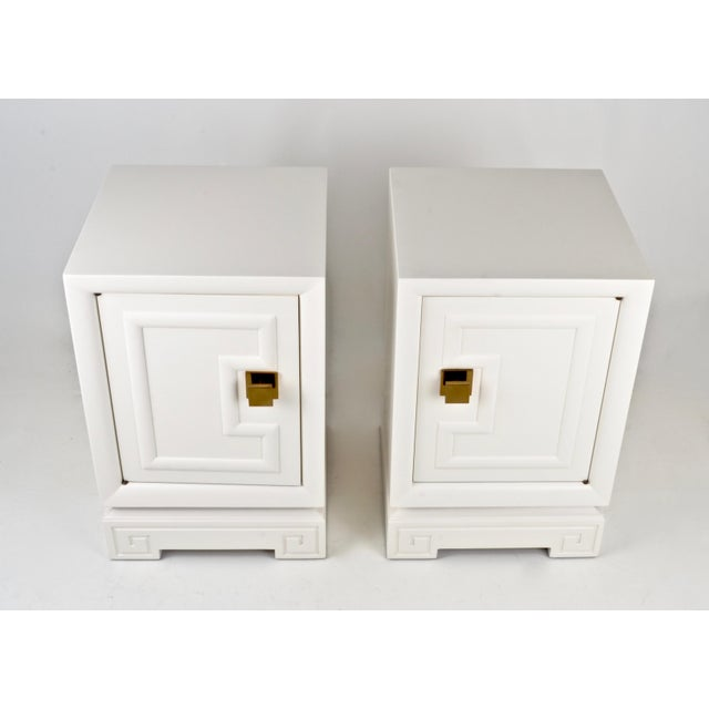 Pair of Lacquered Nightstands Featuring Greek Key Motif, USA, circa 1940 - Image 4 of 8
