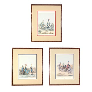 "Early 20th Century ""Napoleon's Imperial Guard"" French Soldiers, Equestrian, & Imperial Guard Lithograph Prints, Framed - Set of 3 For Sale"