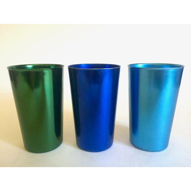 Aluminum Vintage Mid Century Modern Italy Anodized Spun Aluminum Multicolor Tumbler Cups - Set of 6 For Sale - Image 7 of 13