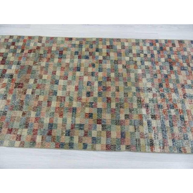 Vintage Mosaic Designed Turkish Deco Rug - 3′10″ × 8′ For Sale - Image 4 of 6