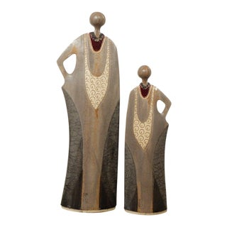 Vintage Japanese Ceramic Signed Female Modern Sculptures - Set of 2 For Sale