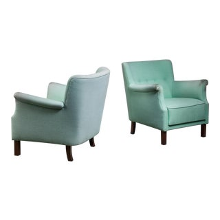 Danish Pair of Lounge Chairs, Denmark, 1940s For Sale