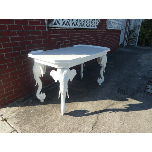 1970s Hollywood Regency Gampel Stoll White Lacquer Elephant Writing Desk For Sale In Miami - Image 6 of 13