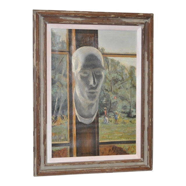 "Stephen Etnier (American, 1903-1984) ""Studio Window"" Original Oil Painting C.1932 For Sale"