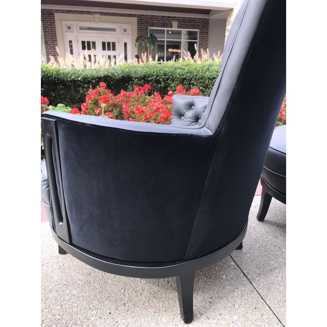 1960s Vintage Mid Century Modern Adrian Pearsall Gray Leather Tufted Black Velvet Occasional Chairs- a Pair Mid-Century Modern For Sale - Image 5 of 8