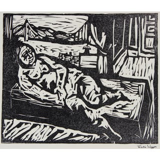 Martin Snipper Figure by the San Francisco Bay, Framed Mid Century Linocut For Sale