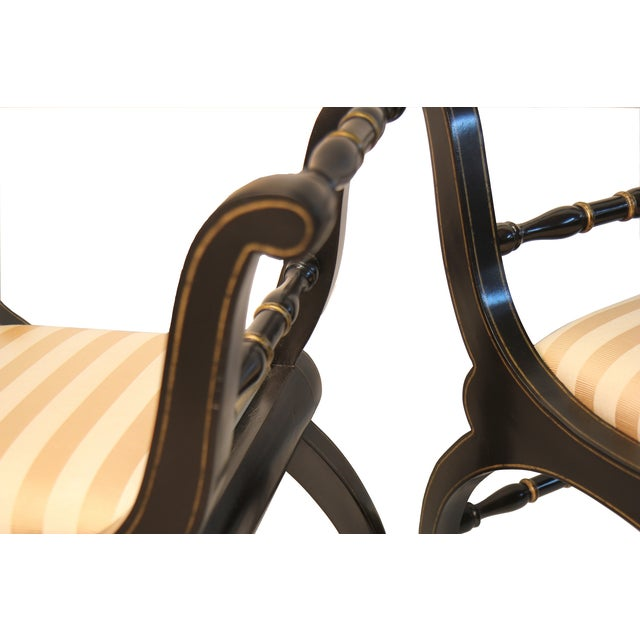 Italian Black & Gold Benches - A Pair - Image 3 of 4