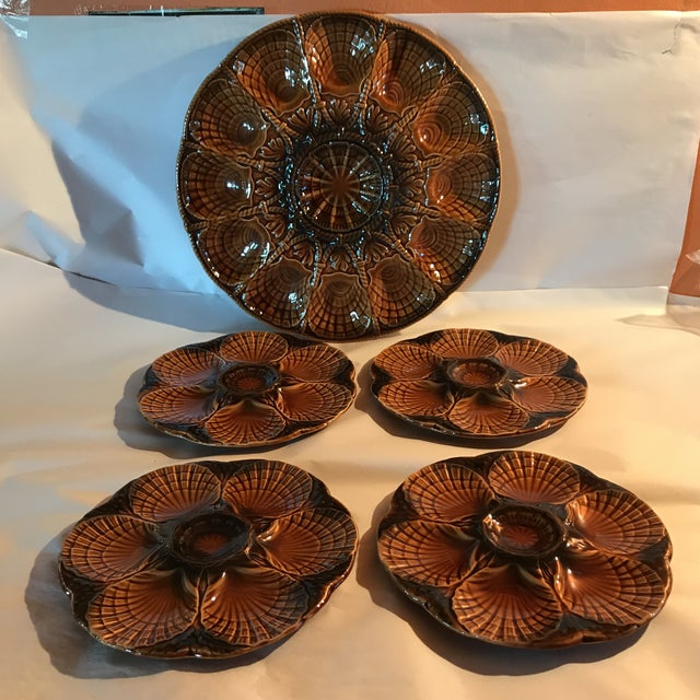 Set 11 French Majolica Oyster Plates by Sarreguemines,10 + Master Server For Sale - Image 6 of 6