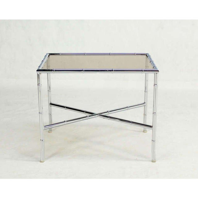 Early 20th Century Pair of Faux Bamboo Chrome and Smoked Glass End Tables For Sale - Image 5 of 10