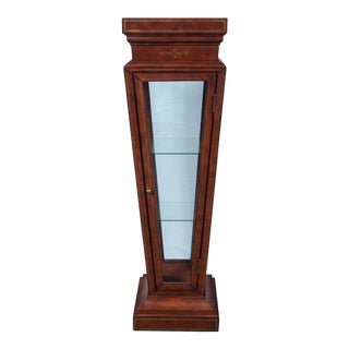 Vintage 1950s Leather Wrapped Pedestal Showcase For Sale
