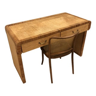 Regency Vintage Palm Beach Rattan & Cane Desk For Sale