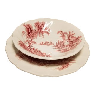 1950s Johnson Brothers The Old Mill Plate and Bowl Set - 2 Pieces For Sale