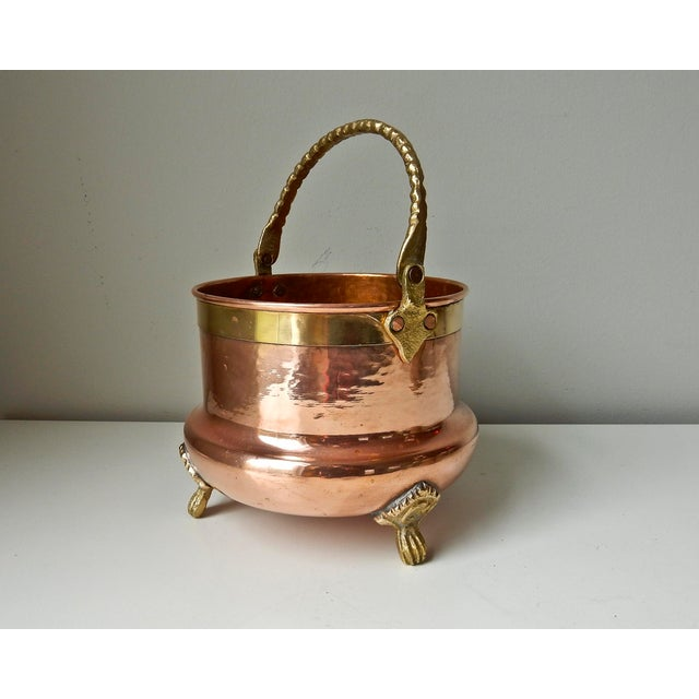 Brass Feet And Handle Copper Planter - Image 2 of 7