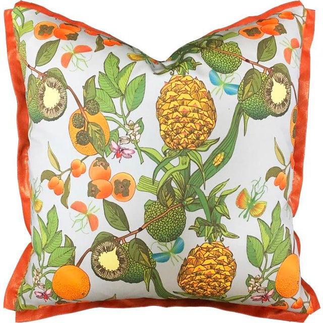 English Pineapple Morning Mist Metallic Orange Flange Pillow For Sale - Image 3 of 3