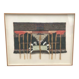 Large Vintage Mid-Century Framed Indian Native Weaving Textile Artwork Dunbar Karl Mann Associates For Sale