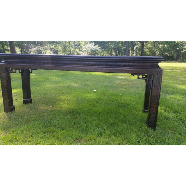 John Widdicomb Asian Carved Console Table For Sale - Image 5 of 10