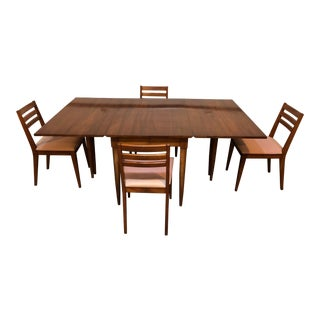 Mid-Century Modern Willett Chestnut Wood Dining Set For Sale