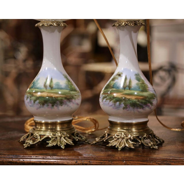 Pair of 19th Century French Porcelain, Bronze, Brass and Cut Glass Table Lamps For Sale - Image 10 of 12