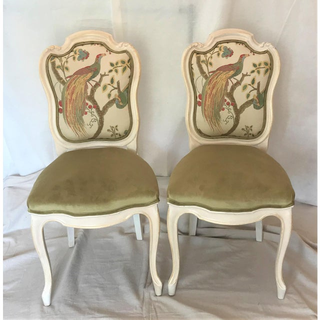 White 19th Century Louis XV Château d'Amboise Parcel Gilt Velvet & Tapestry Chairs - a Pair For Sale - Image 8 of 9