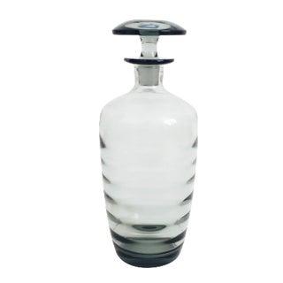 Mid Century Gray Smoke Glass Decanter