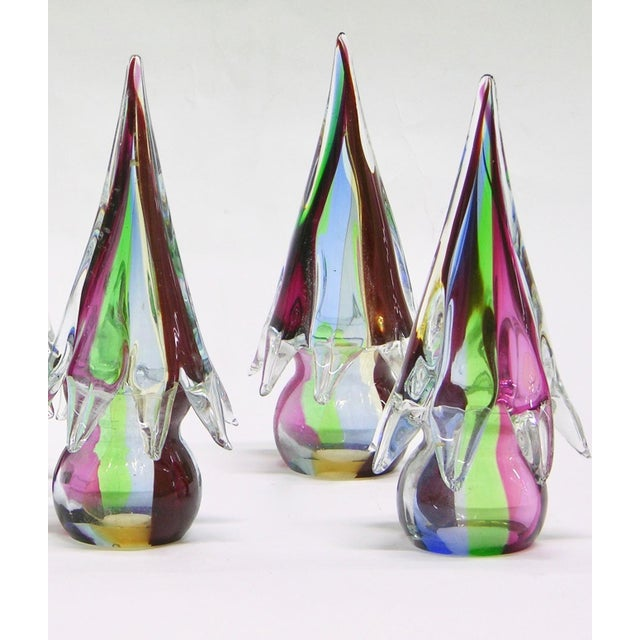 1980s 1980s Organic Italian Vintage Colorful Blown Murano Glass Trees Sculptures For Sale - Image 5 of 6
