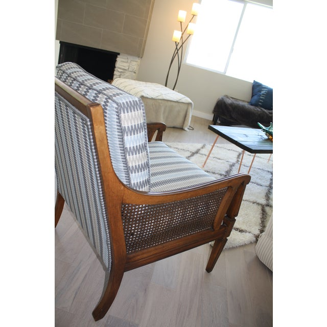 Mid-Century Newly Reupholstered Side Chair With Caning For Sale - Image 5 of 6