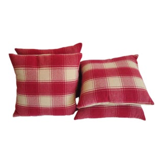 Raspberry and Cream Wool Pendleton Blanket Pillows For Sale