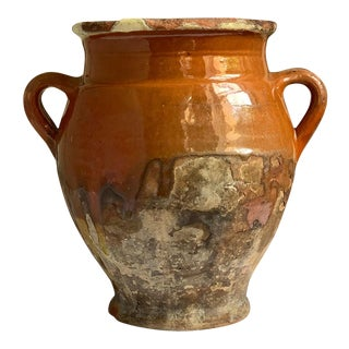 Antique Glazed Terra Cotta Urn Olive Oil Jar For Sale