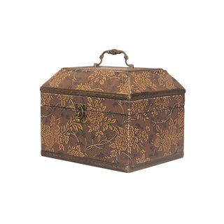 Wooden Box With Embossed Roses For Sale