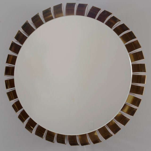 Large Mid Century Bronze Frame Back Lit Mirror For Sale - Image 11 of 11