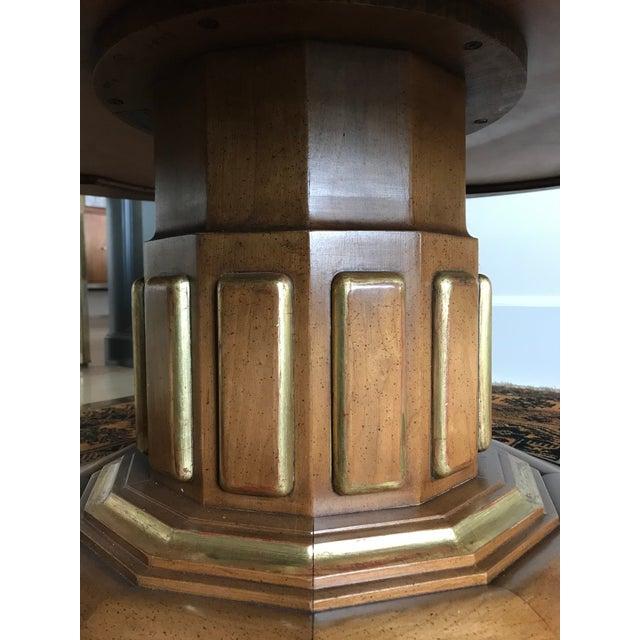 1950s Hollywood Regency John Widdicomb Fruitwood Pedestal Coffee Table For Sale - Image 6 of 11