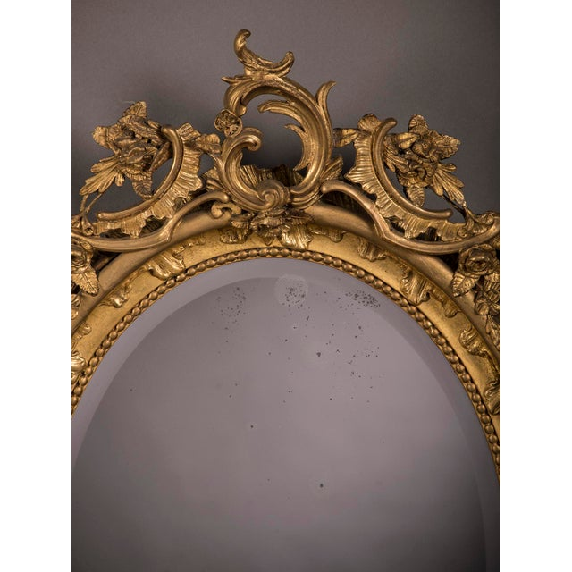 Late 19th Century 19th Century Gilded Oval Frame French Mirror For Sale - Image 5 of 6