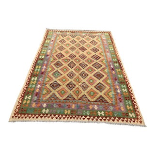 Nomad's Afghan Chobi Kilim Rug - 6′11″ × 9′9″ For Sale