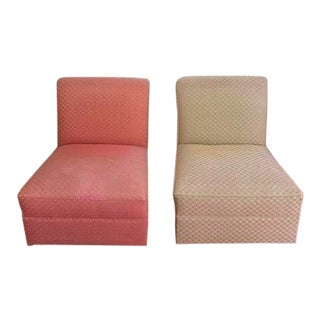 Vintage Mid-Century Upholstered Slipper Chairs - a Pair For Sale
