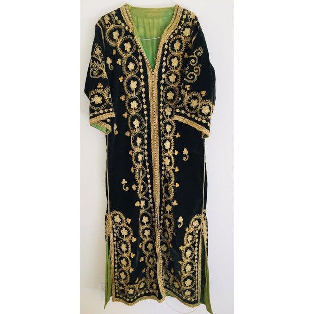 Vintage Caftan, Black Velvet and Gold Embroidered, 1960s For Sale - Image 11 of 13