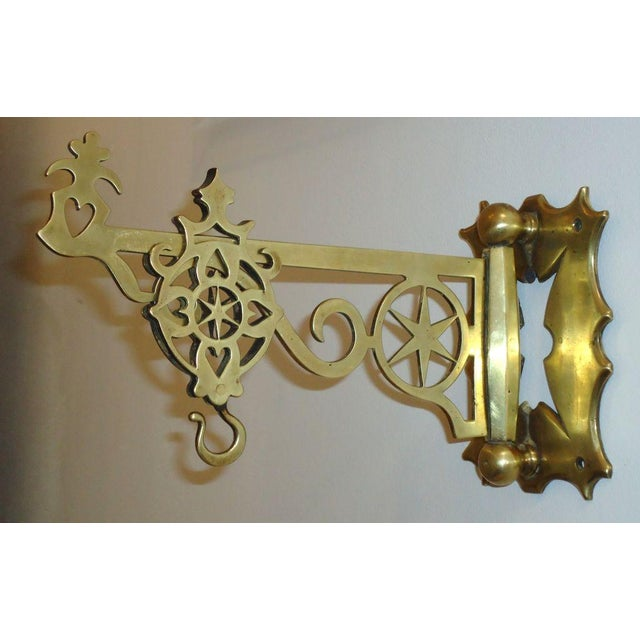 19th Century Rare New England Brass Wall Bracket with Hearts & Stars For Sale In Los Angeles - Image 6 of 9